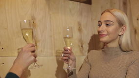 Close-up portrait of a young blonde woman in the cafe with a glass of champagne. stock video footage