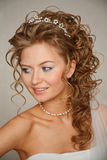 Close up portrait of young bride Royalty Free Stock Image