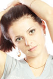 Close up portrait of young brunette woman Stock Photography