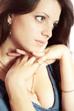 Close up portrait of young brunette woman Royalty Free Stock Photography