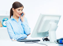 Close up portrait of young business woman phone call, seating i Royalty Free Stock Photo