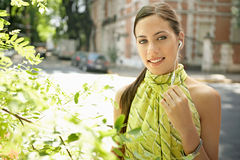 Businesswoman with ear set. Stock Image