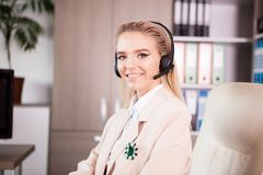 Close up portrait of young Call center support woman operator at Royalty Free Stock Photo