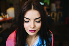 Close-up portrait of young closing eyes woman Stock Images