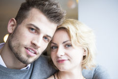 Close-up portrait of young couple in cafe Royalty Free Stock Photography