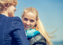 Close up portrait young couple at the seaside Stock Photo