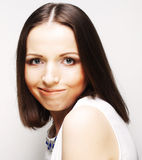 Close up portrait young emotional woman Royalty Free Stock Photography