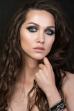 Close-up portrait of a young girl with fashion creative make-up Royalty Free Stock Photos