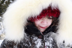 Close-up portrait of young girl lick cold Royalty Free Stock Photography