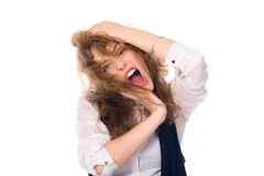 Close-up portrait of a young girl screaming. Stress business wom. An. Isolated on a white background Royalty Free Stock Images