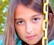 Close Up Portrait of Young Girl on a Swing stock photos