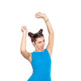 Close-up portrait of young happy woman dancing Stock Photos