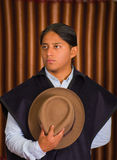 Close up portrait of young indigenous latin american man Stock Photo