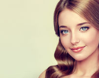Close-up portrait of young Lady with elegant hairstyle Stock Photo