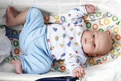 Close-up portrait of young little baby boy. On white background royalty free stock images