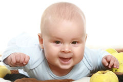 Close-up portrait of young little baby boy. On white background royalty free stock photography