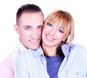 Close up  portrait of Young love couple Stock Image