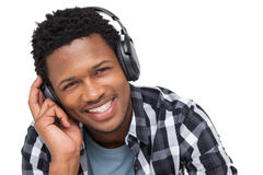 Close-up portrait of a young man enjoying music Stock Image