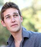 Close-up portrait of young man outdoor Royalty Free Stock Images