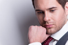 Close-up portrait of a young man in suit. Stock Photography