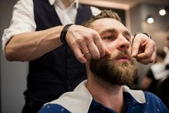 Young man at barber shop being prepared for shaving. Close up portrait of young men at barber shop being prepared for shaving Royalty Free Stock Photos