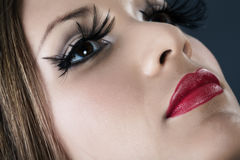 Close-up portrait of young model with red lips Royalty Free Stock Photos