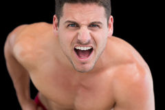 Close up portrait of young muscular man shouting Stock Image