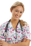 Close-up portrait of young nurse. With stethoscope Royalty Free Stock Photos
