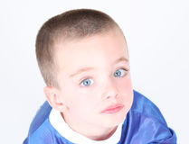 Close-up portrait of young preschool boy. On white background Stock Images
