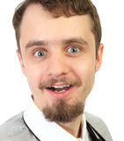 Close-up Portrait of  young smiling and happy  beard man. Isolated a background Royalty Free Stock Images