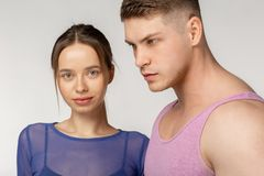 Close up portrait of young sporty couple with healthy skin stock images