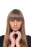 Close up portrait of young sure business woman Royalty Free Stock Images