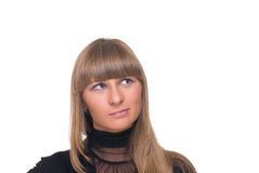 Close up portrait of young sure business woman Royalty Free Stock Image