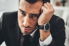 close-up portrait of young tired businessman stock photos