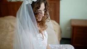 Close-up portrait of young white bride. stock footage