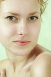 Close-up portrait of young woman. Close-up portrait of caucasian young woman with beautiful green eyes stock photos