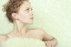 Close-up portrait of young woman. Close-up portrait of caucasian young woman royalty free stock photography