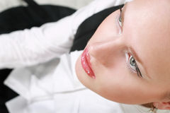 Close-up portrait of young woman. Close-up portrait of caucasian young woman stock image