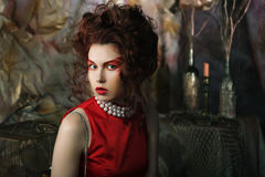 Close up portrait  young  woman with bright  make up Royalty Free Stock Photo