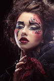 Close up portrait young woman with bright make up Royalty Free Stock Photography