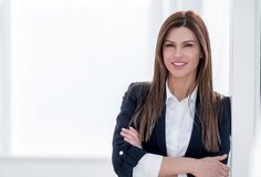 Close up portrait of young woman in business suit stock image