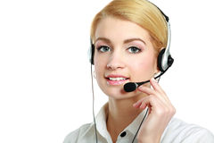 Close-up portrait of young woman with headset Royalty Free Stock Image