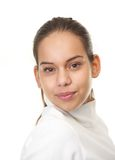 Close up portrait of a young woman with ponytail Royalty Free Stock Photography