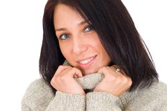 Close up portrait of young woman in sweater Royalty Free Stock Image