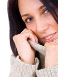 Close up portrait of young woman in sweater Stock Photography