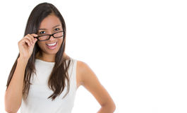 Close-up portrait of a young woman wearing glasses Royalty Free Stock Images