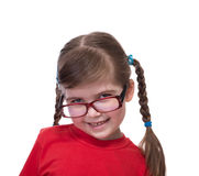 Close up portret of little girl wearing glasses Stock Image