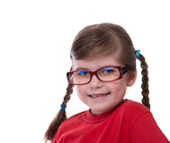 Close up portret of little girl wearing glasses Royalty Free Stock Image