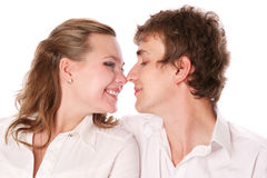 Close-up portret of newly married couple Royalty Free Stock Image