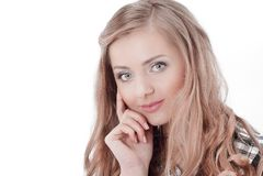 close-up Portret van een jonge bedrijfsvrouw Ge?soleerd op wit royalty-vrije stock afbeelding